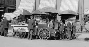 hot dog cart in the old days